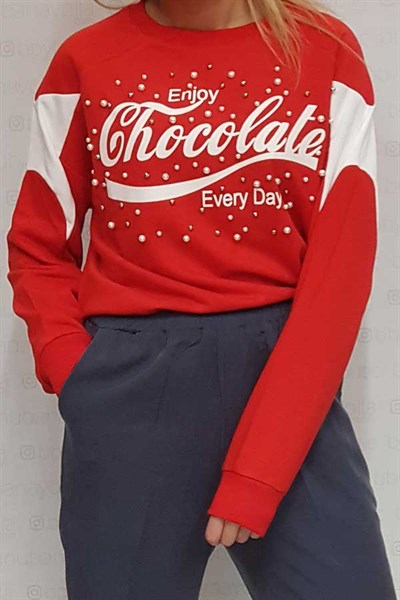 Chocolate İncili Sweatshirt